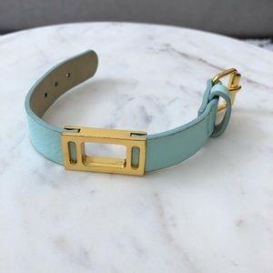 BCBG mint leather buckle bracelet. Adjustable.